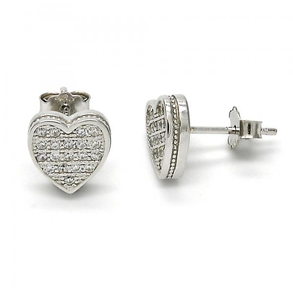 Sterling Silver 02.175.0098 Stud Earring, Heart Design, with White Micro Pave, Polished Finish, Rhodium Tone