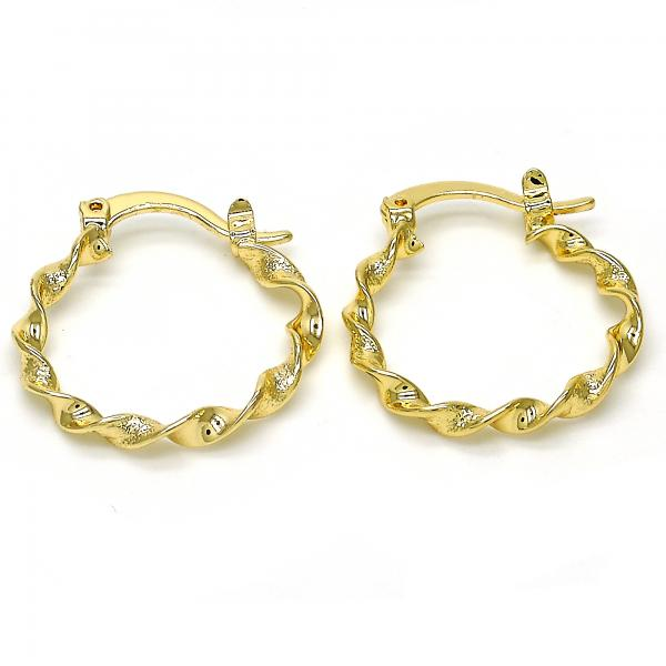 Gold Layered Small Hoop, Twist Design, Tri Tone