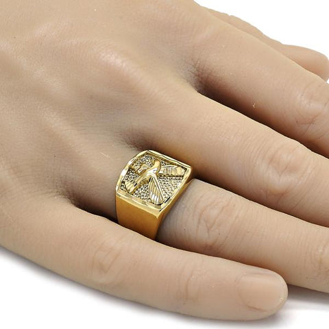 Gold Layered Mens Ring, Eagle Design, Golden Tone