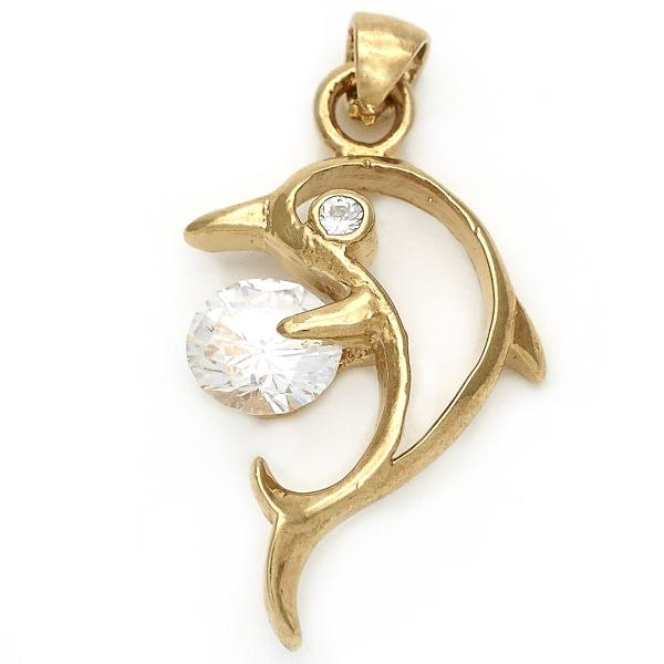 Gold Layered 05.192.006 Fancy Pendant, Dolphin Design, with White Cubic Zirconia, Polished Finish, Golden Tone