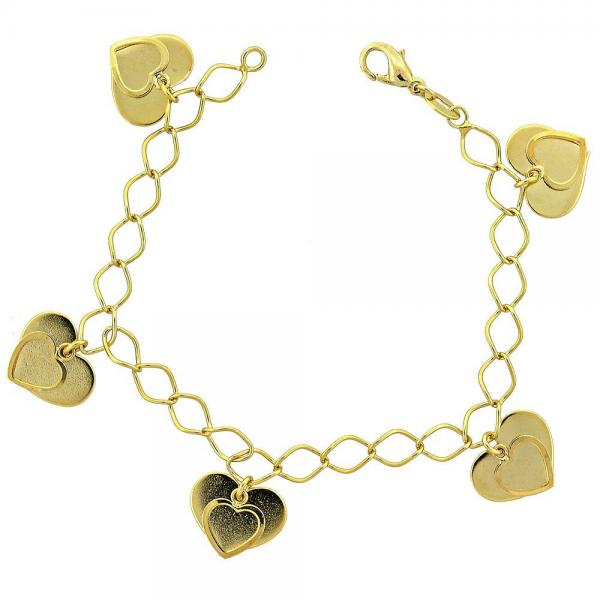 Gold Layered 030.011.07 Charm Bracelet, Heart Design, Polished Finish, Golden Tone