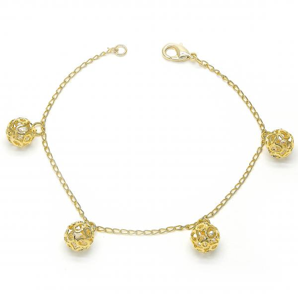Gold Layered 03.63.1342.07 Charm Bracelet, with White Crystal, Polished Finish, Golden Tone