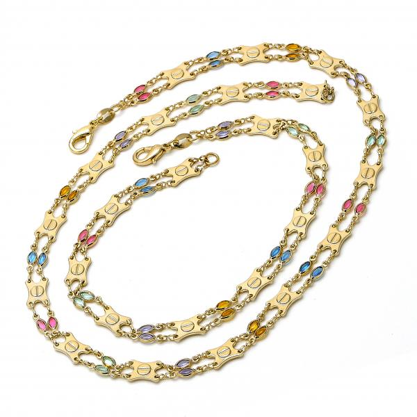 Gold Layered 04.63.1226 Necklace and Anklet, with Multicolor Crystal, Polished Finish, Golden Tone