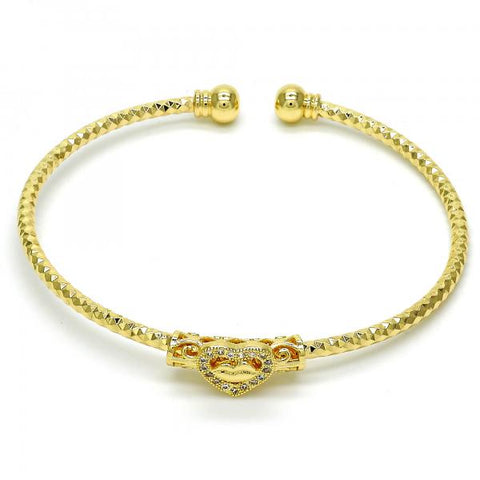 Gold Layered 07.193.0011 Individual Bangle, Heart and Lips Design, with White Micro Pave, Diamond Cutting Finish, Golden Tone (03 MM Thickness, One size fits all)