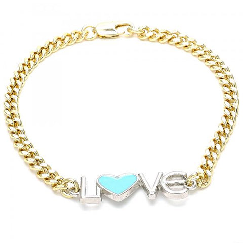 Gold Layered 03.63.1858.07 Fancy Bracelet, Love and Heart Design, Turquoise Enamel Finish, Two Tone