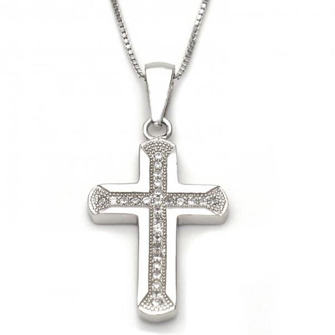 Sterling Silver 04.173.0005.18 Fancy Necklace, Cross Design, with White Micro Pave, Polished Finish, Silver Tone