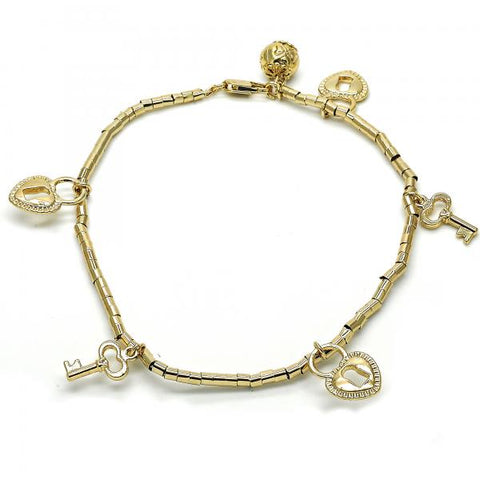 Gold Layered 03.179.0029.10 Charm Anklet , key and Lock Design, Polished Finish, Golden Tone