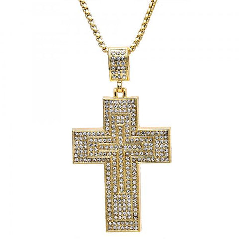 Gold Layered 04.242.0077.30 Fancy Necklace, Cross Design, with White Crystal, Polished Finish, Golden Tone