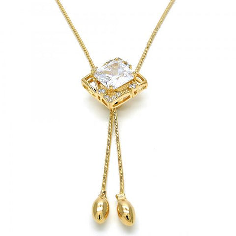 Gold Layered 04.26.0035.22 Fancy Necklace, with White Cubic Zirconia, Polished Finish, Golden Tone