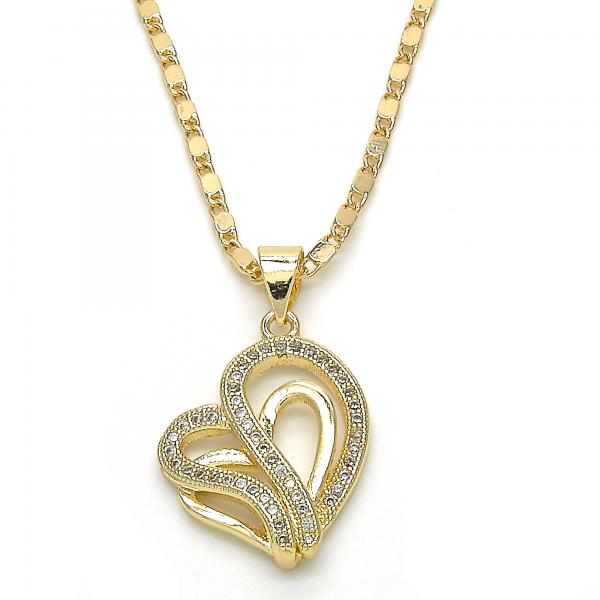 Gold Layered 04.195.0025.20 Fancy Necklace, Heart Design, with White Micro Pave, Polished Finish, Golden Tone
