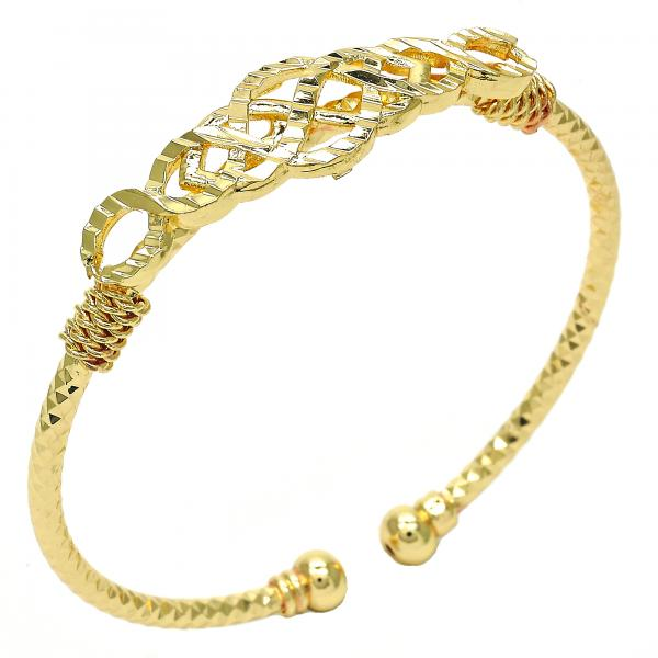 Gold Layered Individual Bangle, Tri Tone