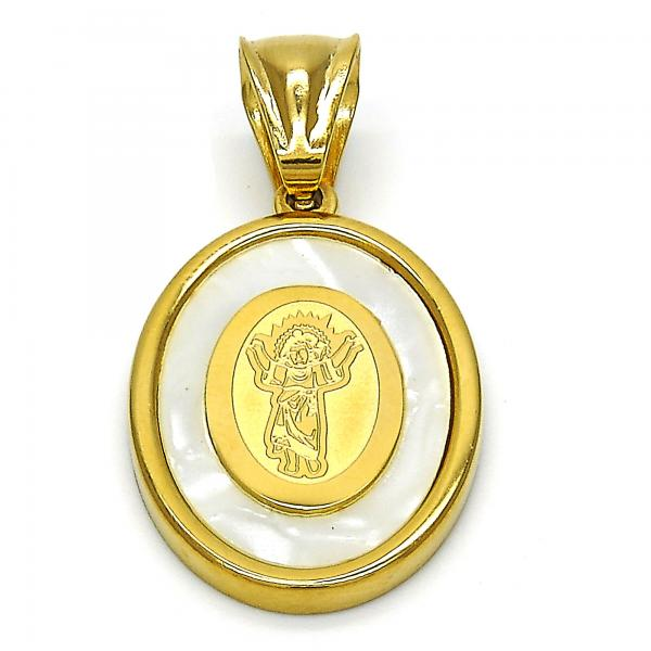 Stainless Steel 05.300.0002 Religious Pendant, Divino Niño Design, with Ivory Mother of Pearl, Polished Finish, Golden Tone