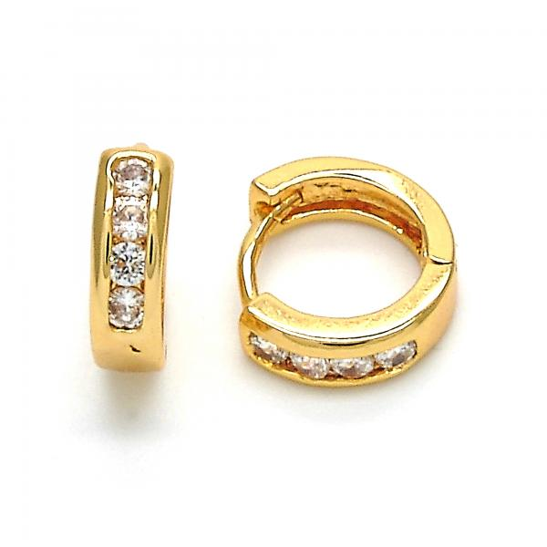 Gold Layered 02.267.0058.10 Huggie Hoop, with White Cubic Zirconia, Polished Finish, Golden Tone