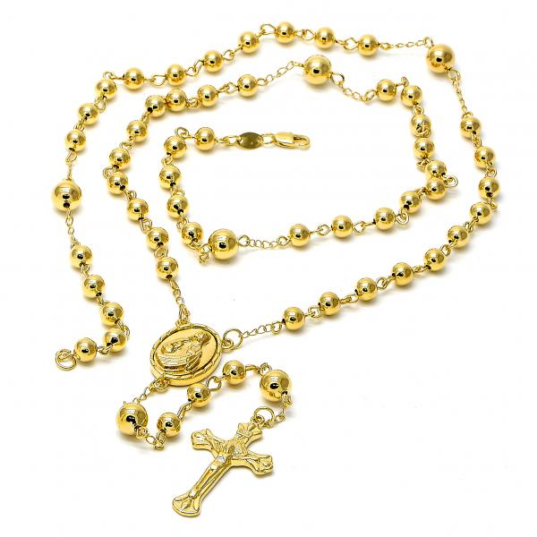 Gold Layered 5.215.004.1.30 Large Rosary, Crucifix and Sagrado Corazon de Jesus Design, Polished Finish, Golden Tone