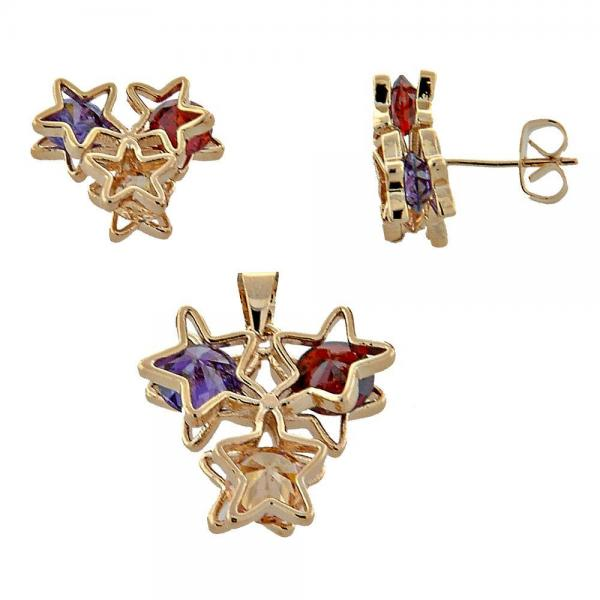 Gold Layered 10.65.0641.1 Earring and Pendant Adult Set, Star Design, with Multicolor Cubic Zirconia, Polished Finish, Golden Tone
