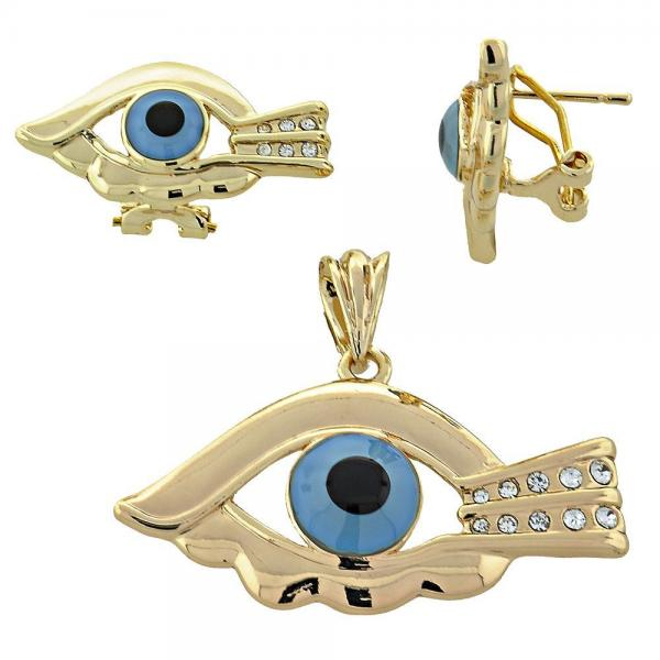 Gold Layered 10.91.0252 Earring and Pendant Adult Set, Greek Eye Design, with  Crystal, Multicolor Polished Finish, Golden Tone