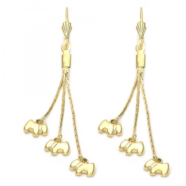 Gold Layered 5.076.003 Long Earring, Dog Design, Golden Tone