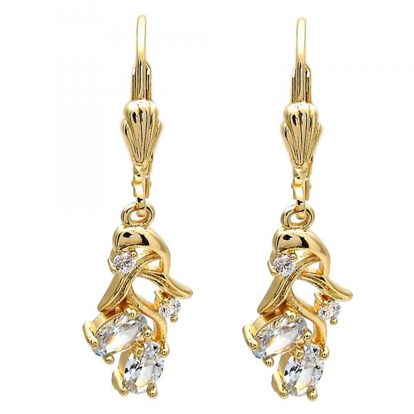 Gold Layered Dangle Earring, Cherry Design, with Cubic Zirconia, Golden Tone