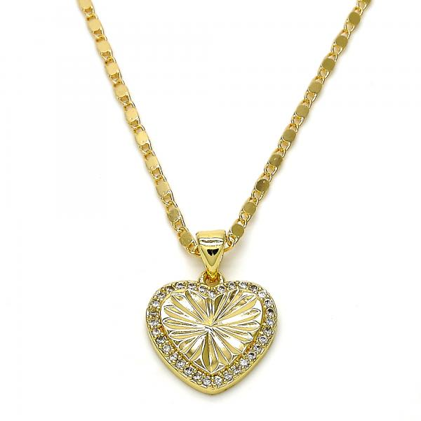 Gold Layered 04.195.0006.18 Fancy Necklace, Heart Design, with White Micro Pave, Polished Finish, Golden Tone