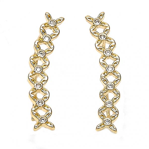 Gold Layered 02.156.0181 Leverback Earring, Flower Design, with White Cubic Zirconia, Polished Finish, Golden Tone