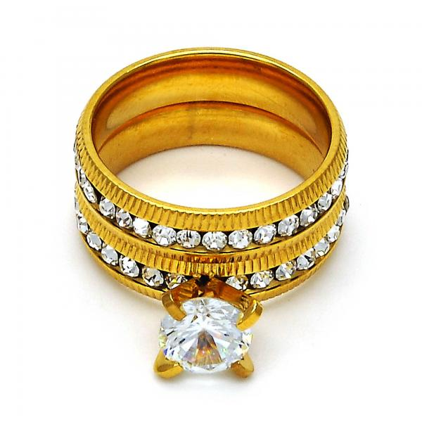 Stainless Steel Wedding Ring, with Crystal, Golden Tone