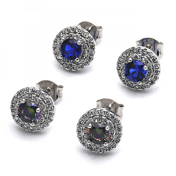 Sterling Silver Stud Earring, with Cubic Zirconia,