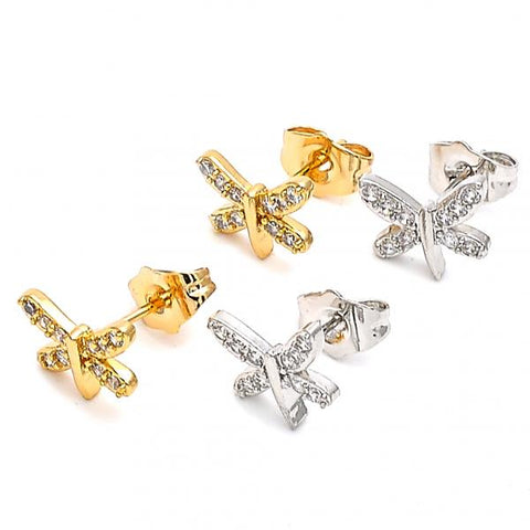 Gold Layered Stud Earring, Butterfly Design, with Cubic Zirconia, Golden Tone