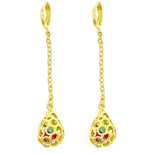 Gold Layered 02.150.0007 Long Earring, Teardrop Design, with Multicolor Crystal, Polished Finish, Golden Tone