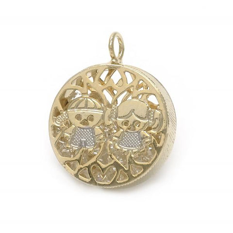 Gold Layered 05.09.0057 Fancy Pendant, Little Girl and Little Boy Design, with White Crystal, Polished Finish, Two Tone