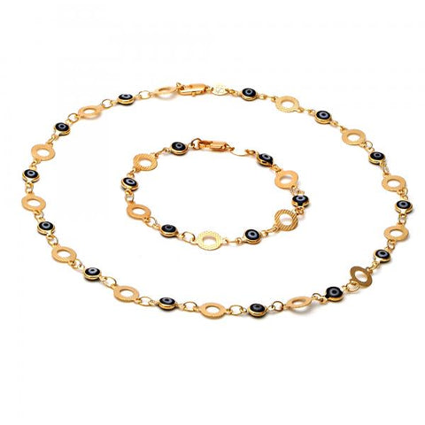 Gold Layered 06.63.0017 Necklace and Bracelet, Greek Eye Design, Enamel Finish, Golden Tone