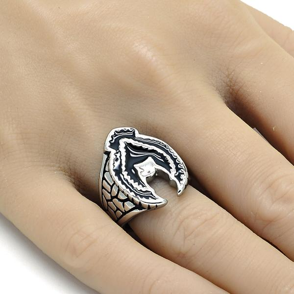 Stainless Steel Mens Ring, Eagle Design, Steel Tone