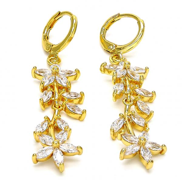 Gold Layered 02.205.0040 Long Earring, Flower and Leaf Design, with White Cubic Zirconia, Polished Finish, Golden Tone