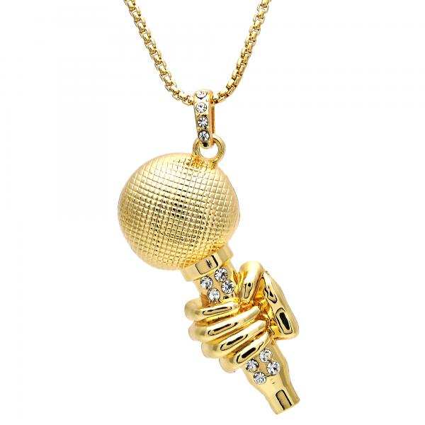 Gold Layered 04.242.0078.30 Pendant Necklace, with White Crystal, Polished Finish, Golden Tone