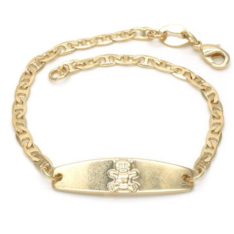 Gold Layered 03.32.0101.06 ID Bracelet, Teddy Bear and Mariner Design, Polished Finish, Golden Tone