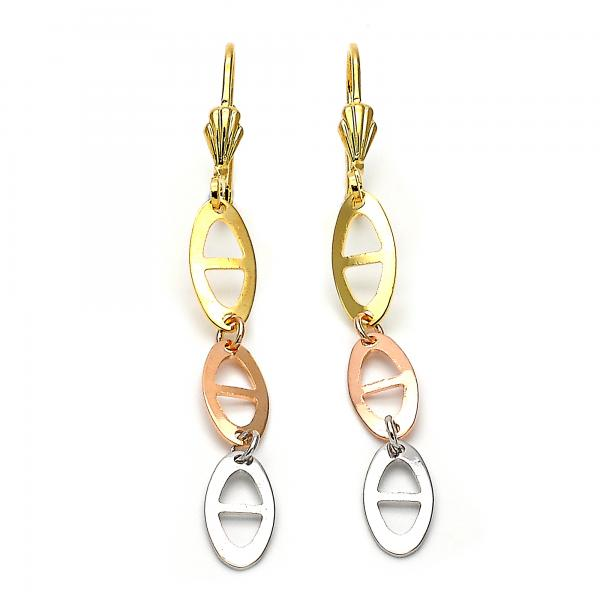 Gold Layered 02.63.2148 Long Earring, Matte Finish, Tri Tone