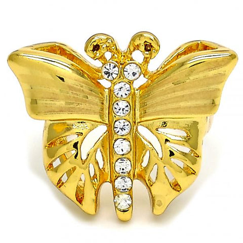 Gold Layered Multi Stone Ring, Butterfly Design, with Crystal, Golden Tone
