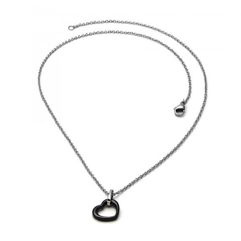 Stainless Steel 04.113.0032.18 Fancy Necklace, Heart Design, Black Resin Finish, Steel Tone