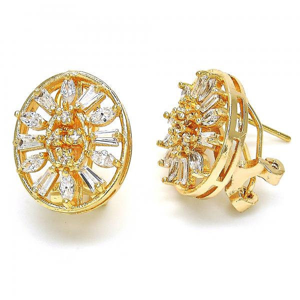 Gold Layered 02.217.0079 Stud Earring, with White Cubic Zirconia, Polished Finish, Golden Tone