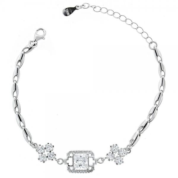 Sterling Silver 03.183.0001 Fancy Bracelet, Long Box Design, with White Cubic Zirconia, Polished Finish, Rhodium Tone