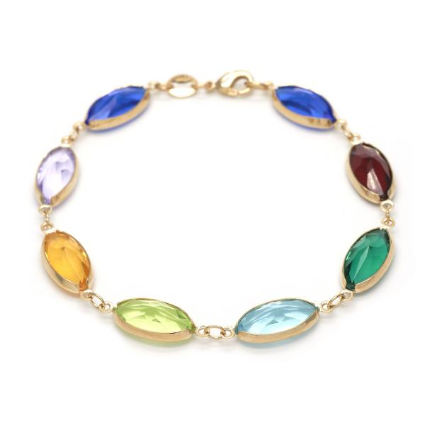Gold Layered 03.32.0117.07 Fancy Bracelet, with Multicolor Crystal, Polished Finish, Golden Tone