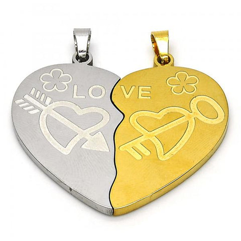 Stainless Steel 05.116.0044 Fancy Pendant, Heart and Love Design, Polished Finish, Two Tone