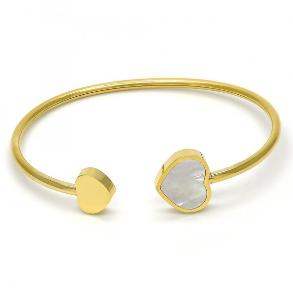 Stainless Steel 07.265.0008 Individual Bangle, Heart Design, with White Mother of Pearl, Polished Finish, Golden Tone (03 MM Thickness, One size fits all)