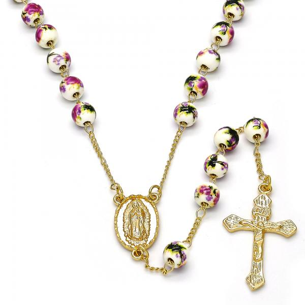 Gold Layered Medium Rosary, Guadalupe and Crucifix Design, Golden Tone