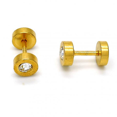 Stainless Steel 02.271.0003 Stud Earring, with White Crystal, Polished Finish, Gold Tone