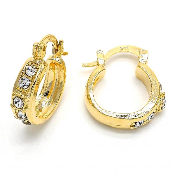 Gold Layered 02.168.0032 Huggie Hoop, with White Cubic Zirconia, Polished Finish, Golden Tone