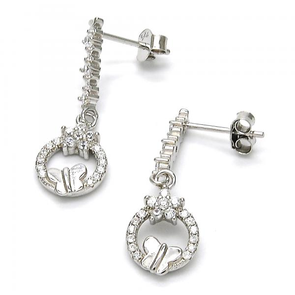 Sterling Silver 02.175.0129 Dangle Earring, Flower and Butterfly Design, with White Cubic Zirconia and White Crystal, Polished Finish, Rhodium Tone
