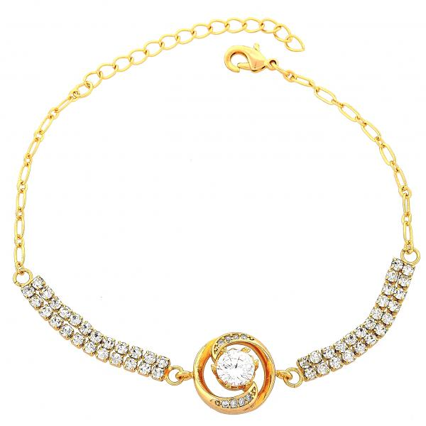Gold Layered 03.60.0067 Fancy Bracelet, with White Cubic Zirconia, Polished Finish, Golden Tone