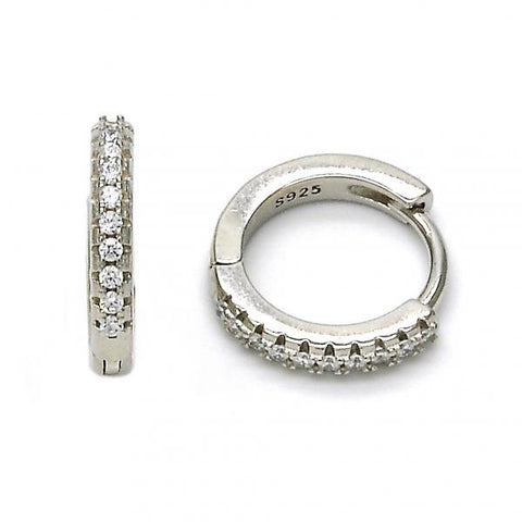 Sterling Silver 02.175.0070.15 Huggie Hoop, with White Crystal, Polished Finish, Rhodium Tone