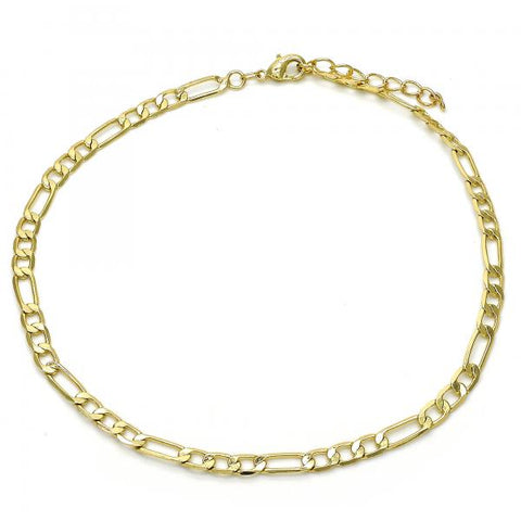 Gold Layered 04.213.0114.10 Basic Anklet, Figaro Design, Polished Finish, Golden Tone