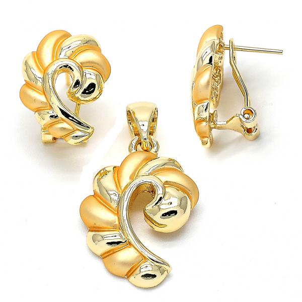Gold Layered 10.59.0185 Earring and Pendant Adult Set, Golden Tone